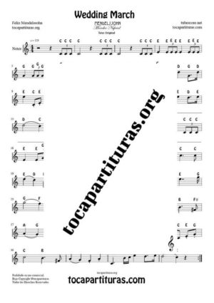Marcha Nupcial by Mendelssohn Notes Sheet Music for Treble Clef (Violín, Oboe, Flute, Recorder…) Easy Tone