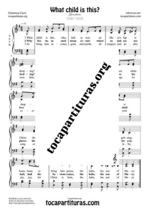 What child is this? SATB Sheet Music for Choir with English Lyrics (PDF and MIDI) Coro Greensleeves