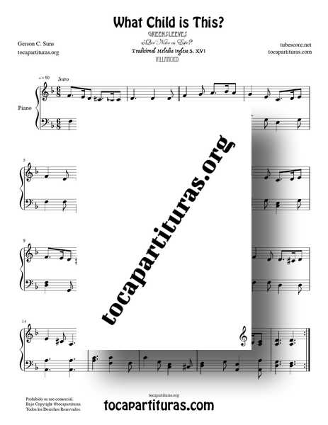 What child is this? Greensleeves Partitura PDF MIDI MP3 de Piano Fácil en Re menor